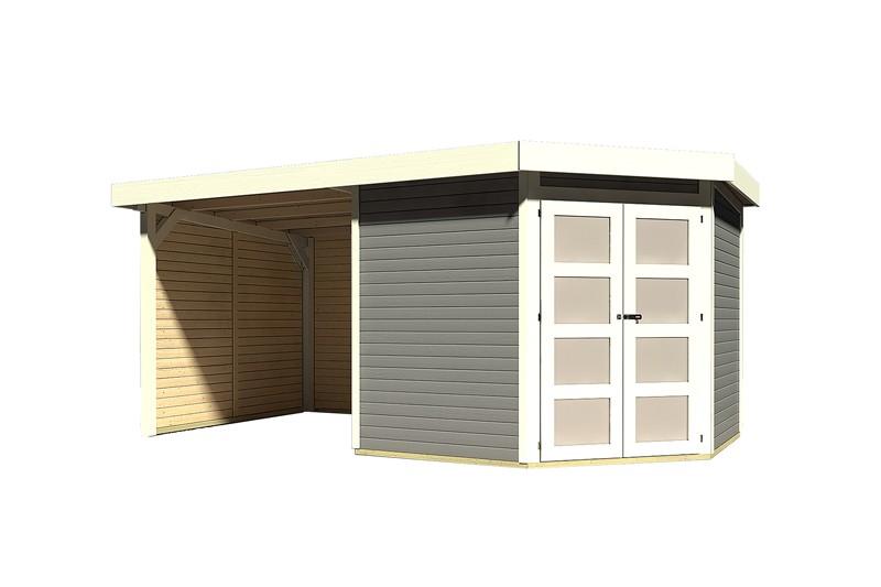 Karibu Holz-Gartenhaus Goldendorf 5  im Set mit Anbaudach  2,20 m Breit und 19 mm Seiten- und Rückwand - 19 mm Flachdach Schraub- Stecksystem - terragrau