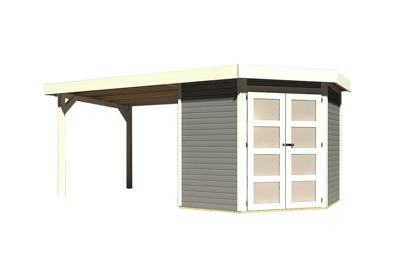 Karibu Holz-Gartenhaus Goldendorf 3  im Set mit Anbaudach  2,60 m Breit - 19 mm Flachdach Schraub- Stecksystem - terragrau