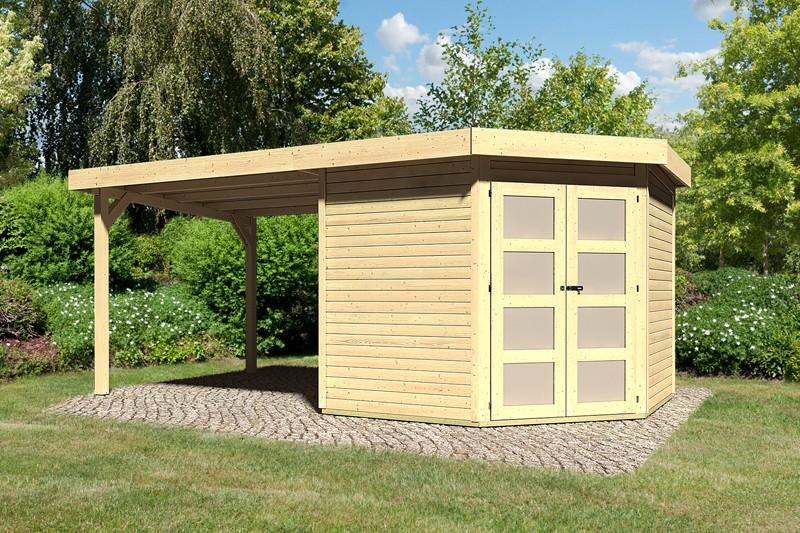 Karibu Holz-Gartenhaus Goldendorf 5  im Set mit Anbaudach  2,60 m Breit - 19 mm Flachdach Schraub- Stecksystem - naturbelassen