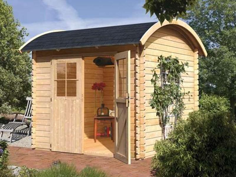 Karibu Holz-Gartenhaus Taha 2 - 28 mm Wandstärke Blockbohle Tonnendach  - naturbelassen