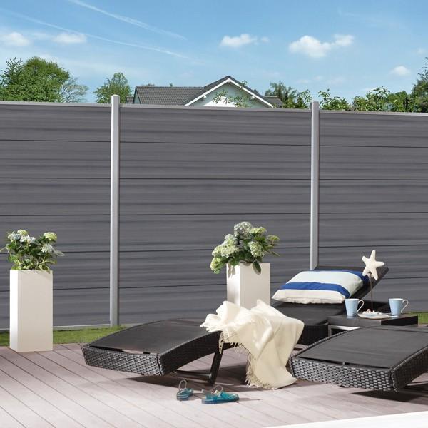 TraumGarten Sichtschutzzaun System Platinum XL Einzelprofil grau