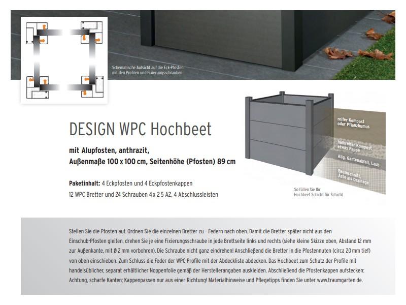 TraumGarten Design WPC  Hochbeet mit Alupfosten anthrazit - 100 x 100 x 89 cm