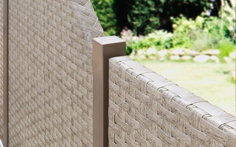 TraumGarten Sichtschutzzaun Textil-Geflecht Weave Anschluss gray 178 x 88 auf 88cm