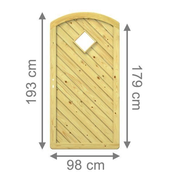TraumGarten Sichtschutzzaun Gada Tor rund mit Fenstereinsatz kdi - 98 x 179 (193) cm