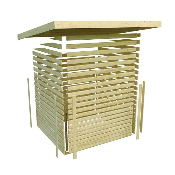 Sonderangebot: Woodfeeling Holz-Gartenhaus: Askola 3,5 im Set mit Anbaudach - 19 mm Flachdach Schraub- Stecksystem  - naturbelassen
