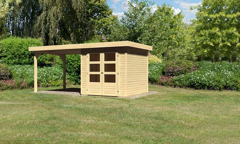 Woodgarden Holz-Gartenhaus: Saale 2 im Set mit Anbaudach 2,80 m Breite - 19 mm Flachdach Schraub- Stecksystem  - naturbelassen