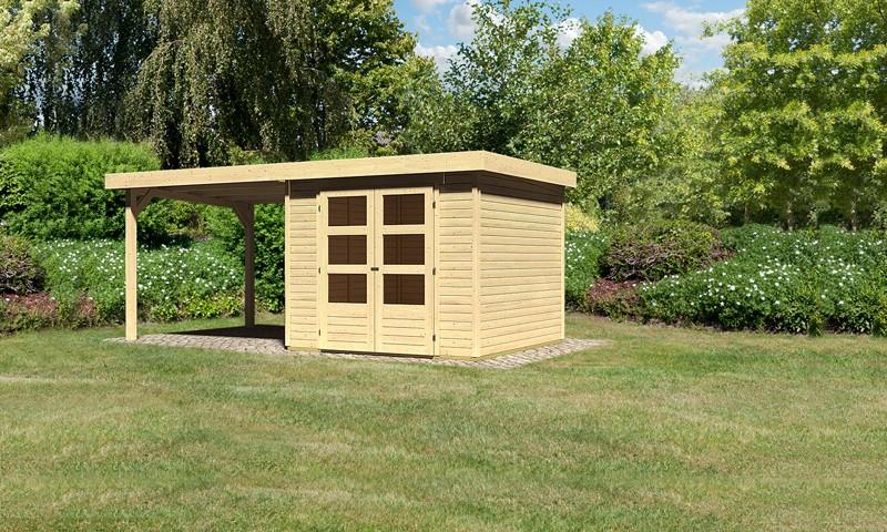 Woodgarden Holz-Gartenhaus: Salle 3,5  im Set mit Anbaudach 2,80  m Breite - 19 mm Flachdach Schraub- Stecksystem  - naturbelassen