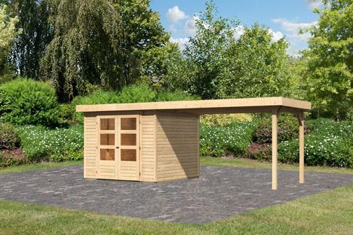 Woodfeeling Holz-Gartenhaus Askola 3,5 mit Anbaudach 2,8m - 19 mm Schraub-/Stecksystem - naturbelassen