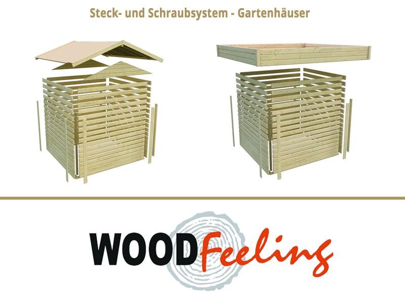 Woodgarden Holz-Gartenhaus: Saale5 im Set  mit Anbaudach 2,80  m Breite - 19 mm Flachdach Schraub- Stecksystem  - naturbelassen