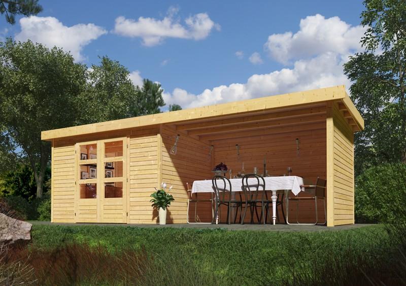 Sonderangebot: Woodfeeling Holz-Gartenhaus: Askola 2 im Set mit Anbaudach und 19 mm Seiten- Rückwand - 19 mm Flachdach Schraub- Stecksystem  - naturbelassen