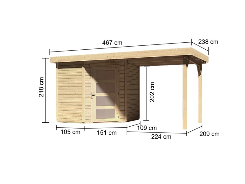 Woodfeeling Holz-Gartenhaus Schwandorf 3 mit Anbaudach 2,4m - 19 mm Schraub-/Stecksystem - naturbelasse