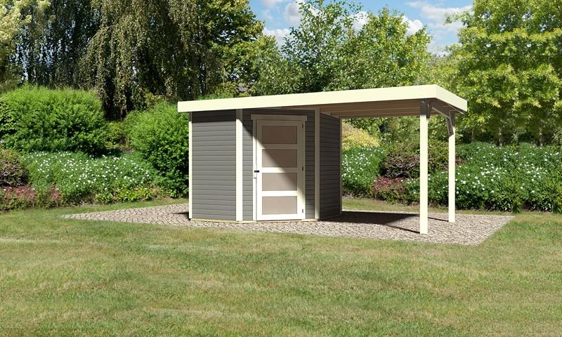 Karibu Woodfeeling Holz-Gartenhaus: Schwandorf 3 im Set mit Anbaudach 2,20 m Breite - 19 mm Flachdach Schraub- Stecksystem - terragrau