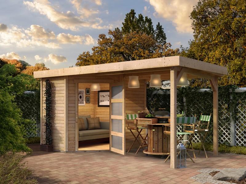 Karibu Woodfeeling Holz-Gartenhaus:Schwandorf 5 im Set mit Anbaudach 2,20 m Breite - 19 mm Flachdach Schraub- Stecksystem  - naturbelassen