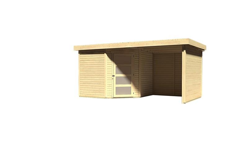 Karibu Woodfeeling Holz-Gartenhaus: Schwandorf 5 im Set mit Anbaudach 2,20 m Breite und 19 mm Seiten- und Rückwand - 19 mm Flachdach Schraub- Stecksystem  - naturbelassen