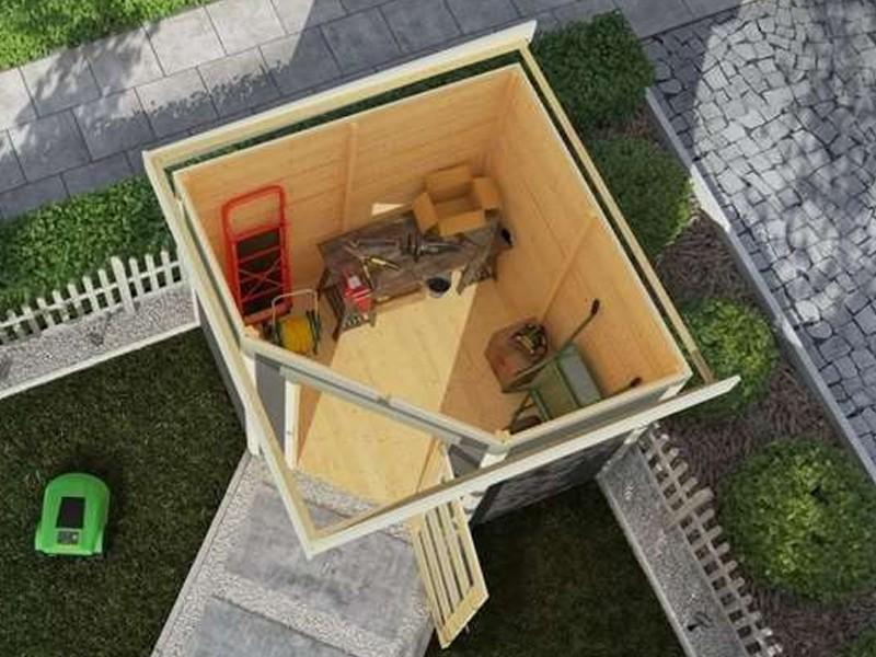 Karibu Woodfeeling Holz-Gartenhaus: Schwandorf 5 im Set mit Anbaudach 2,20 m Breite und 19 mm Seiten- und Rückwand - 19 mm Flachdach Schraub- Stecksystem - terragrau