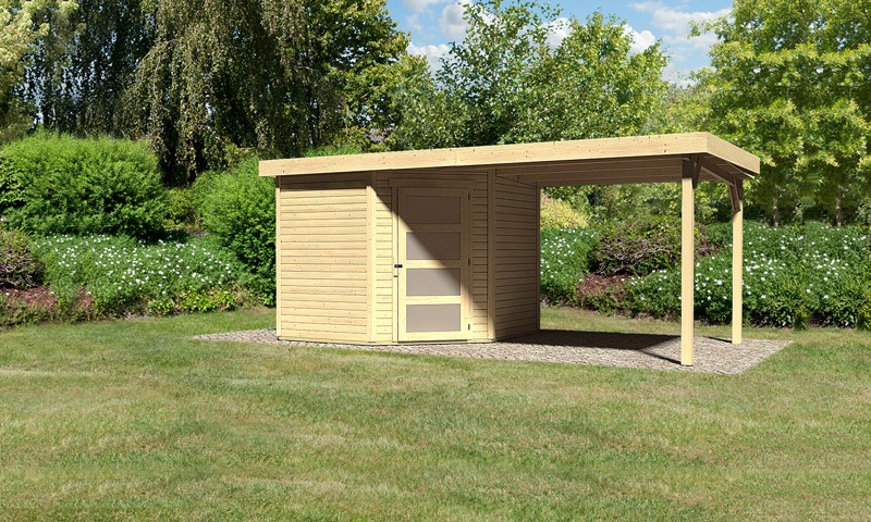 Karibu Woodfeeling Holz-Gartenhaus: Schwandorf 5 im Set mit Anbaudach 2,60 m Breite - 19 mm Flachdach Schraub- Stecksystem  - naturbelassen
