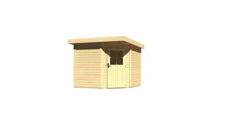 Woodfeeling Holz-Gartenhaus: Neuruppin 2 - 28 mm Flachdach Schraub- Stecksystem  - naturbelassen