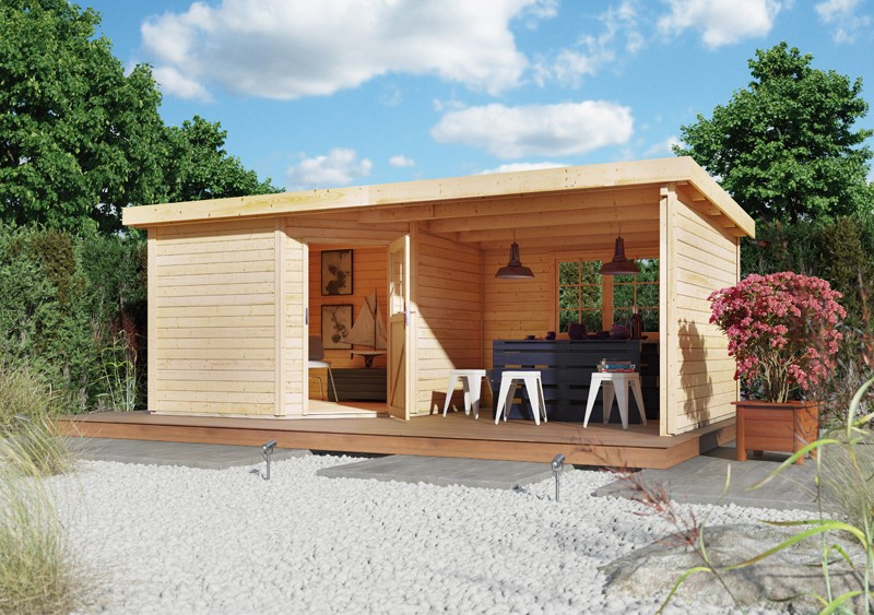 Sonderangebot: Woodfeeling Holz-Gartenhaus: Neuruppin 3 im Set mit einem Anbaudach Breite 2,35 m - 28 mm Flachdach Schraub- Stecksystem  - naturbelassen