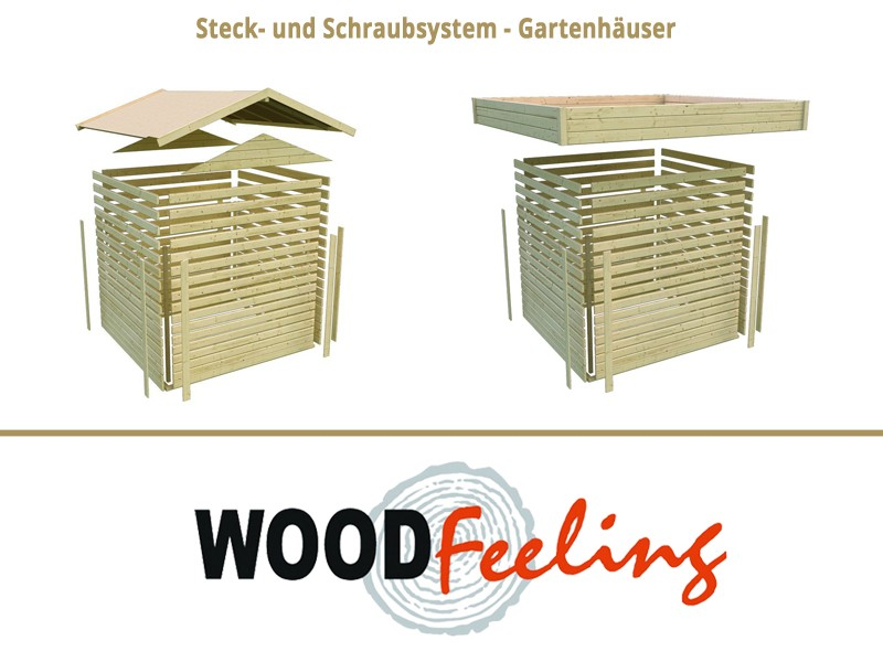 Sonderangebot: Woodfeeling Holz-Gartenhaus: Neuruppin 3 im Set mit einem Anbaudach Breite 2,35 m und 28mm Seiten- und Rückwand - 28 mm Flachdach Schraub- Stecksystem  - naturbelassen