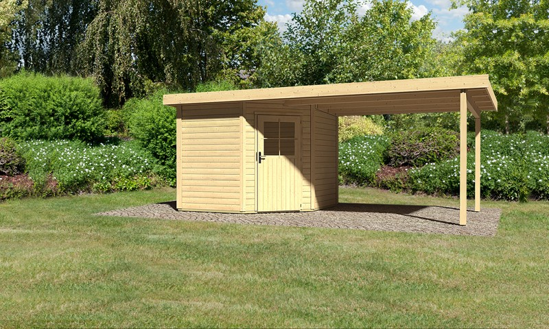 Sonderangebot: Woodfeeling Holz-Gartenhaus: Neuruppin 2 im Set mit einem Anbaudach Breite 2,95 m - 28 mm Flachdach Schraub- Stecksystem  - naturbelassen