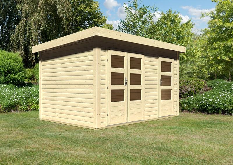 Woodfeeling Holz-Gartenhaus: Schönbuch 1 - 38 mm Flachdach Schraub- Stecksystem  - naturbelassen