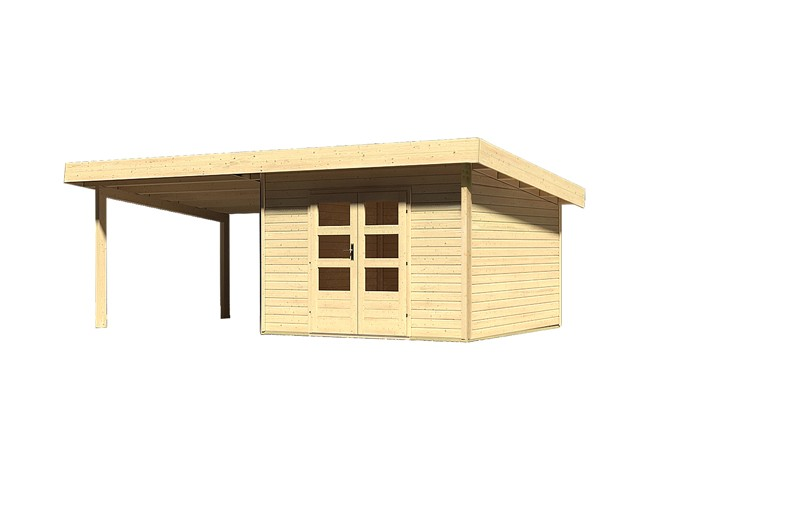 Sonderangebot: Woodfeeling Holz-Gartenhaus: Northeim 3 im Set mit einem Anbaudach Breite 3 m - 40 mm Pultdach  - naturbelassen