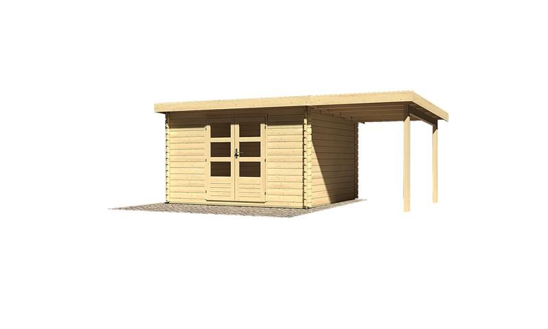Sonderangebot: Woodfeeling Holz-Gartenhaus: Bastrup 7 im Set mit Schleppdach 2 m breit - 28 mm Blockbohlenhaus mit Pultdach  - naturbelassen