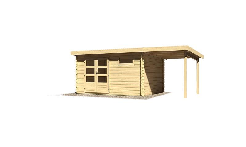 Sonderangebot: Woodfeeling Holz-Gartenhaus: Bastrup 8 im Set mit Schleppdach 2 m breit - 28 mm Blockbohlenhaus mit Pultdach  - naturbelassen