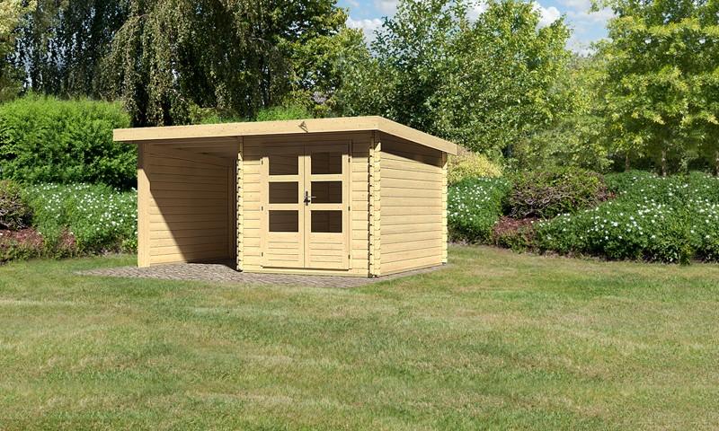Sonderangebot: Woodfeeling Holz-Gartenhaus: Bastrup 4 im Set mit Schleppdach 2 m  breit, 28 mm Seiten - und Rückwand - 28 mm Blockbohlenhaus mit Pultdach  - naturbelassen
