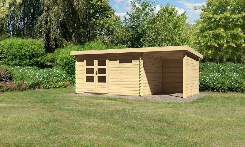 Sonderangebot: Woodfeeling Holz-Gartenhaus: Bastrup 8 im Set mit Schleppdach 2 m breit, 28 mm Seiten - und Rückwand - 28 mm Blockbohlenhaus mit Pultdach  - naturbelassen