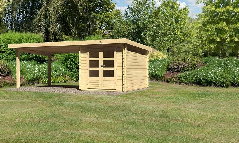 Sonderangebot: Woodfeeling Holz-Gartenhaus: Bastrup 4 im Set mit Schleppdach 4 m breit - 28 mm Blockbohlenhaus mit Pultdach  - naturbelassen