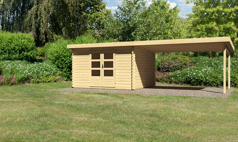 Sonderangebot: Woodfeeling Holz-Gartenhaus: Bastrup 7 im Set mit Schleppdach 4 m breit - 28 mm Blockbohlenhaus mit Pultdach  - naturbelassen