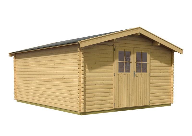 Woodfeeling Holz-Gartenhaus: Blockbohlenhaus Mühlheim 7 - 38 mm Blockbohlenhaus  - naturbelassen