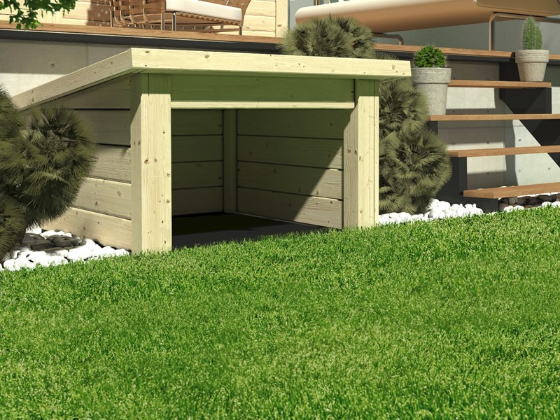 Woodfeeling Holz-Gartenhaus: 19 mm Haus für Mähroboter  - naturbelassen