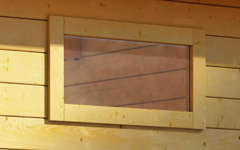 Woodfeeling 28 mm längliches feststehendes Fenster   - naturbelassen