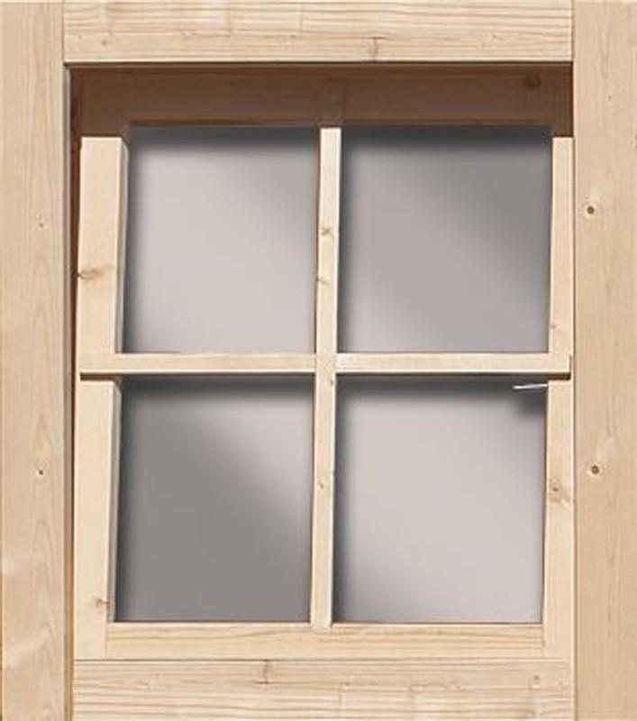 Woodfeeling 38 mm gerades Fenster ( 28mm inkl Umrüstleiste als Set) - naturbelassen