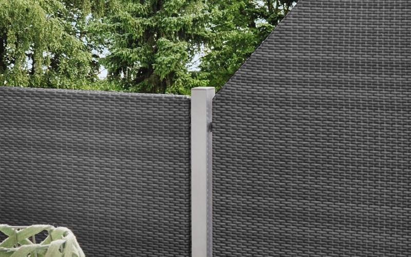 TraumGarten Sichtschutzzaun Weave Anschluss anthrazit - 88 x 178 auf 88 cm