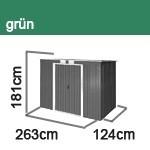 Tepro Gerätehaus Metall - Pent Roof 8x4 - Grün