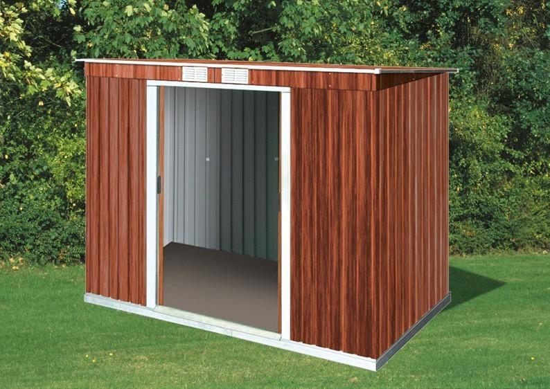 Tepro Gerätehaus Metall - Pent Roof 8x4 - Holzoptik