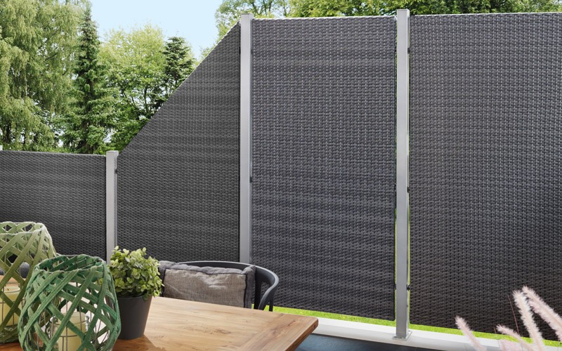 TraumGarten Sichtschutzzaun Textil-Geflecht Weave Rechteck anthrazit - 88 x 178 cm