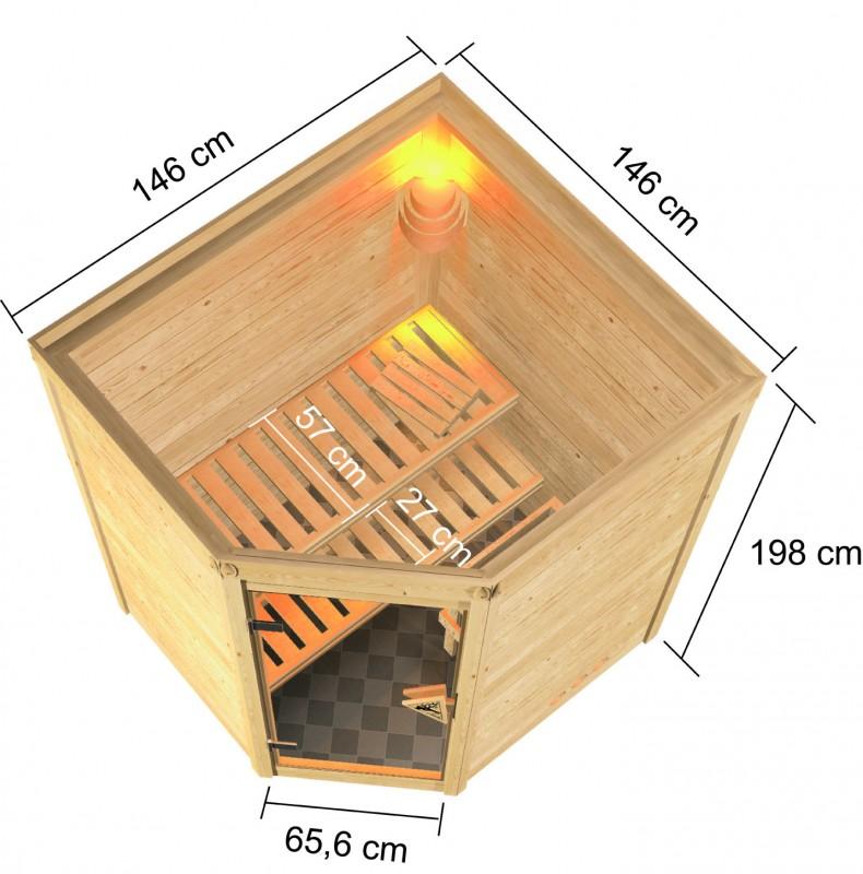 Karibu Heimsauna Alicja (Eckeinstieg) ohne Zubehör Kein Kranz Plug & Play 230Volt Sauna