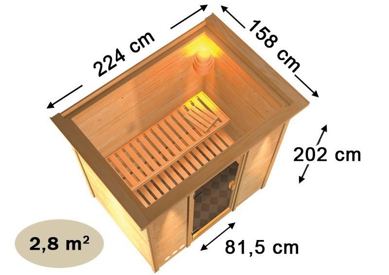 Karibu Plug&Play Sauna Ronja (Fronteinstieg) ohne Dachkranz und Bronzierter Sauna Tür