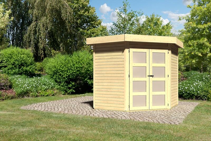 Karibu Holz-Gartenhaus Goldendorf 3 - 19 mm Flachdach Schraub- Stecksystem - naturbelassen