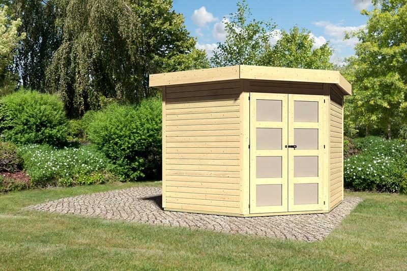 Karibu Holz-Gartenhaus Goldendorf 5 - 19 mm Flachdach Schraub- Stecksystem - naturbelassen