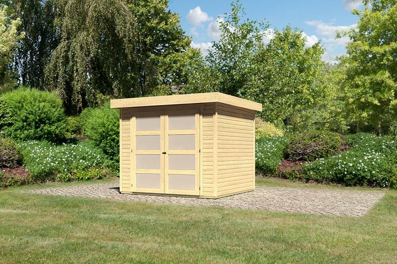 Karibu Holz-Gartenhaus Mühlendorf 3 - 19 mm Flachdach Schraub- Stecksystem - naturbelassen