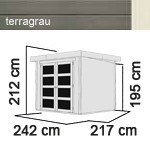 Karibu Holz-Gartenhaus Mühlendorf 3 - 19 mm Schraub-/Stecksystem - terragrau