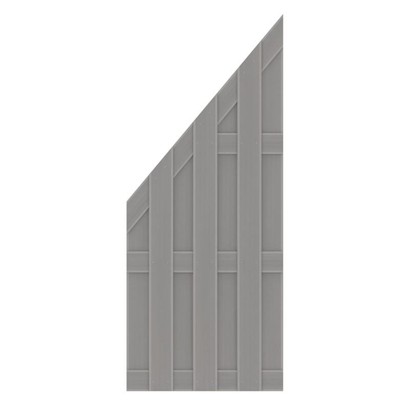 TraumGarten Sichtschutzzaun Jumbo WPC Anschluss grau - 74 x 179 auf 90 cm