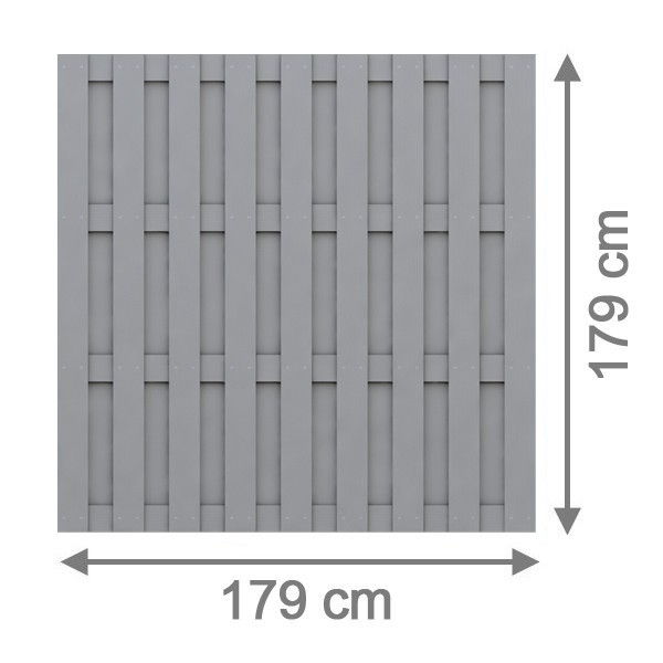 TraumGarten Sichtschutzzaun Jumbo WPC Rechteck grau - 179 x 179 cm