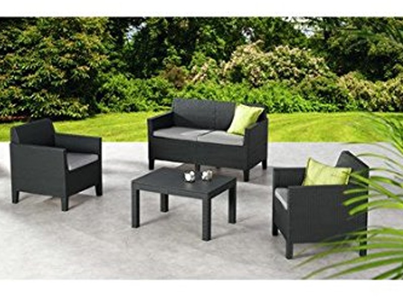 Best Lounge Gruppe Amalfi 2er Couch und 2 Sessel inkl. Polster und Tisch, graphit