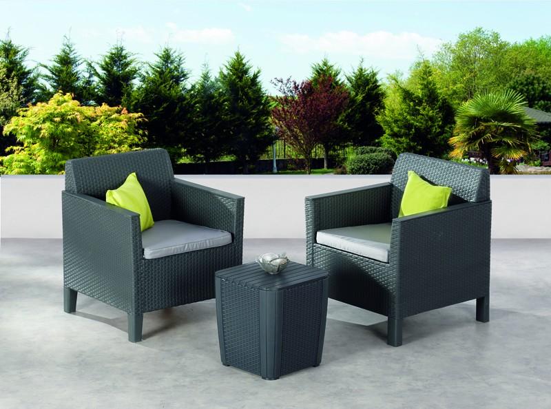 Best Balkon-Set Amalfi 2 Sessel inkl. Polster und Beistelltisch, graphit